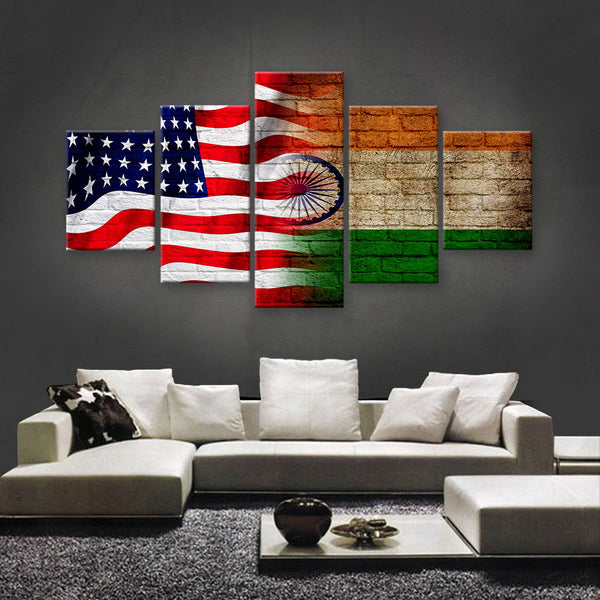 HD PRINTED LIMITED EDITION AMERICAN - INDIAN (INDIA) CANVAS (FLAG120003)