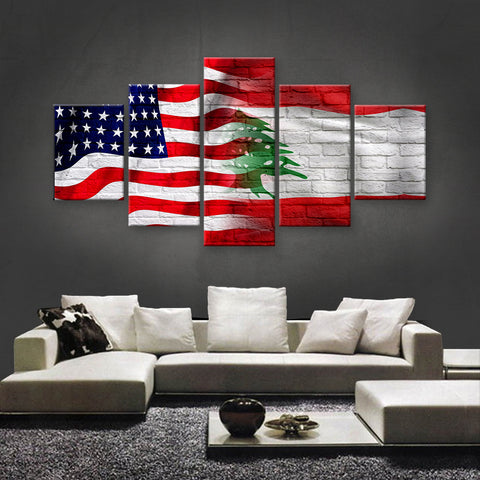 HD PRINTED LIMITED EDITION AMERICAN - LEBANESE (LEBANON) CANVAS (FLAG120006)