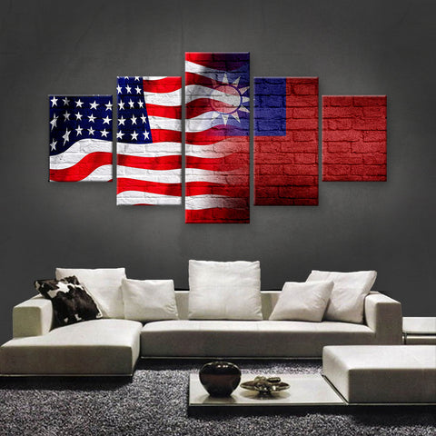 HD PRINTED LIMITED EDITION AMERICAN - TAIWANESE (TAIWAN) CANVAS (FLAG120009)