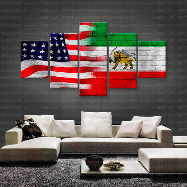 HD PRINTED LIMITED EDITION AMERICAN - IRANIAN (IRAN) FLAG CANVAS (FLAG150009A2)