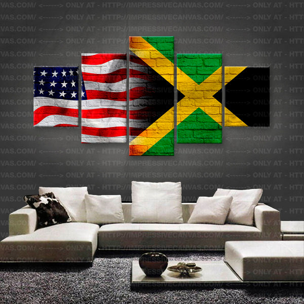 HD PRINTED LIMITED EDITION AMERICAN - JAMAICAN (JAMAICA) FLAG CANVAS (FLAG150010)
