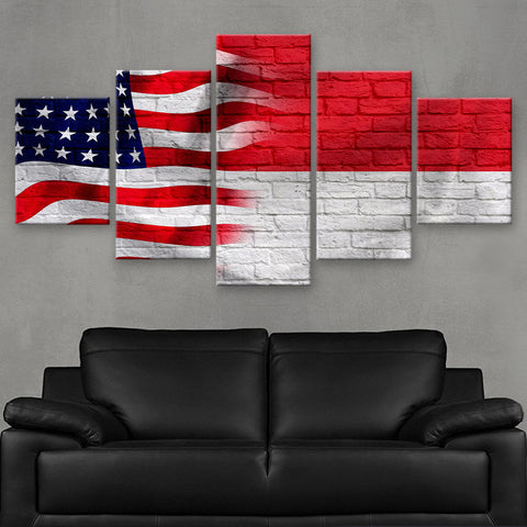 HD PRINTED LIMITED EDITION AMERICAN - INDONESIAN (INDONESIA) FLAG CANVAS (FLAG120054)