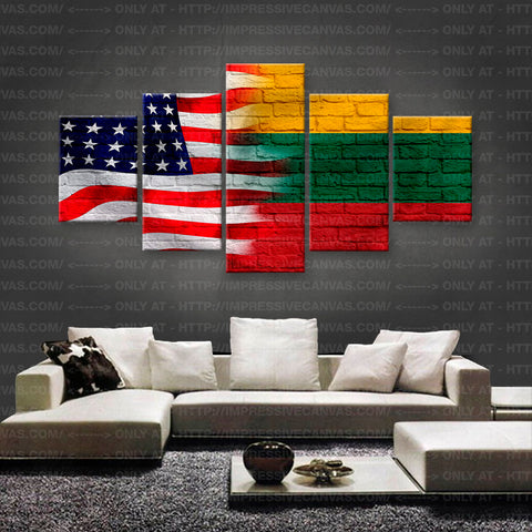 HD PRINTED LIMITED EDITION AMERICAN - LITHUANIAN (LITHUANIA) FLAG CANVAS (FLAG150015)