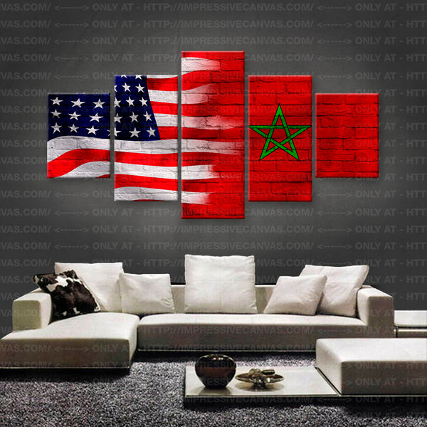 HD PRINTED LIMITED EDITION AMERICAN - MAROCCAN (MARROCOS) FLAG CANVAS (FLAG150017)