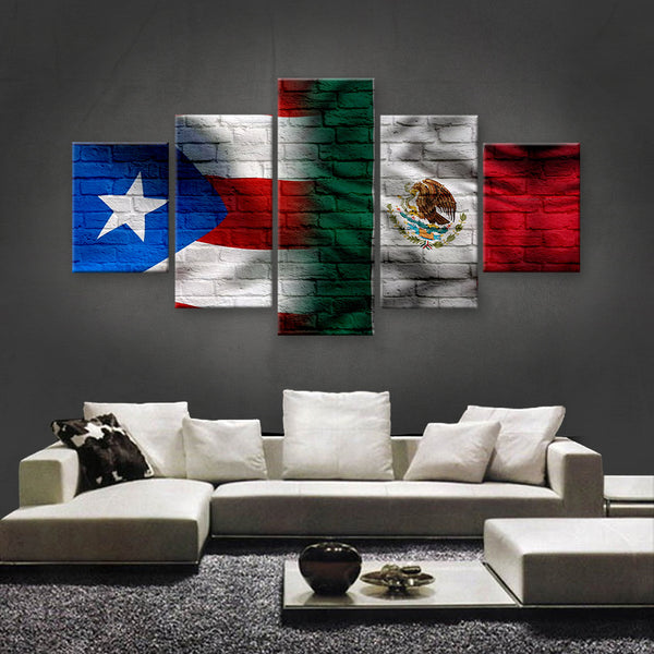 HD PRINTED LIMITED EDITION PUERTO RICAN - MEXICAN FLAG CANVAS (PRMX150021)