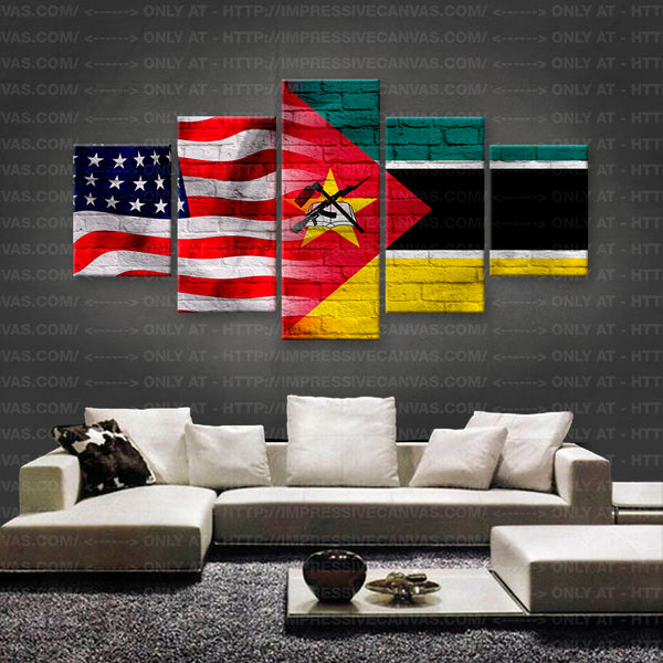 HD PRINTED LIMITED EDITION AMERICAN - MOZAMBICAN (MOZAMBIQUE) FLAG CANVAS (FLAG150018)