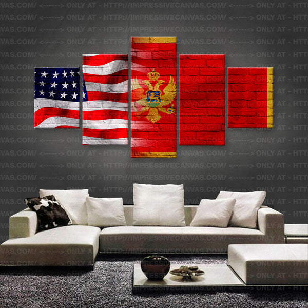 HD PRINTED LIMITED EDITION AMERICAN - MONTENEGRIN (MONTENEGRO) FLAG CANVAS (FLAG150019)