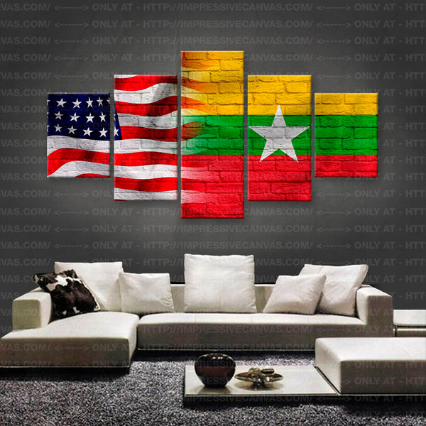 HD PRINTED LIMITED EDITION AMERICAN - BURMESE (MYANMAR) FLAG CANVAS (FLAG150020)
