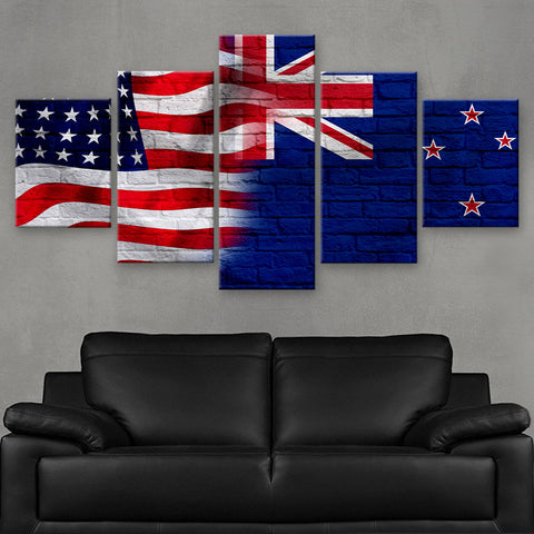 HD PRINTED LIMITED EDITION AMERICAN - KIWI (NEW ZEALAND) FLAG CANVAS (FLAG120075)