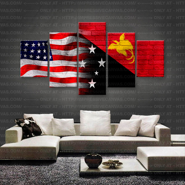 HD PRINTED LIMITED EDITION AMERICAN - PAPUA NEW GUINEAN (PAPUA NEW GUINEA) FLAG CANVAS (FLAG150026)