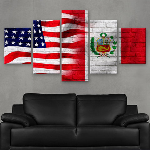 HD PRINTED LIMITED EDITION AMERICAN - PERUVIAN (PERU) FLAG CANVAS (FLAG120059)
