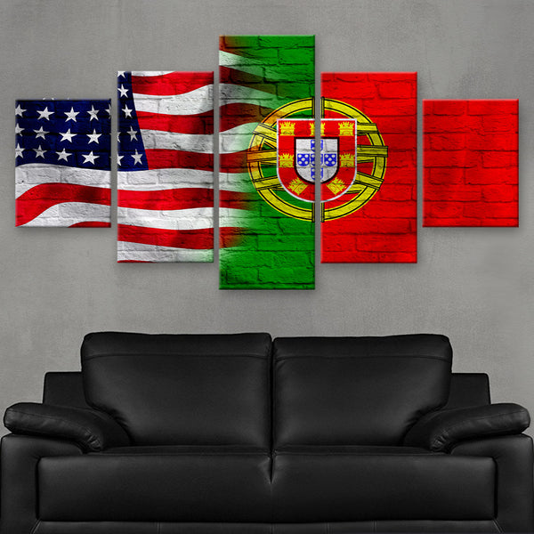 HD PRINTED LIMITED EDITION AMERICAN - PORTUGUESE (PORTUGAL) FLAG CANVAS (FLAG120060)