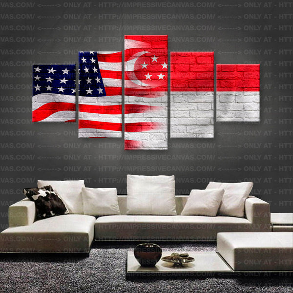 HD PRINTED LIMITED EDITION AMERICAN - SINGAPOREAN (SINGAPORE) FLAG CANVAS (FLAG150031)