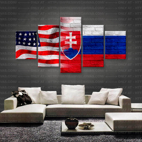HD PRINTED LIMITED EDITION AMERICAN - SLOVAKIAN (SLOVAKIA) FLAG CANVAS (FLAG150033)