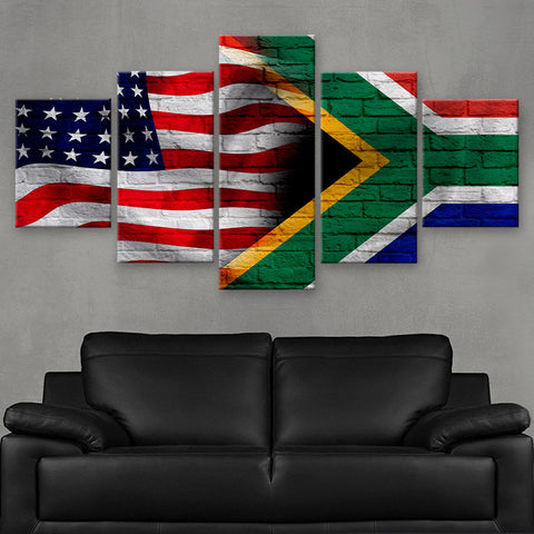 HD PRINTED LIMITED EDITION AMERICA - SOUTH AFRICA FLAG CANVAS (FLAG120062)