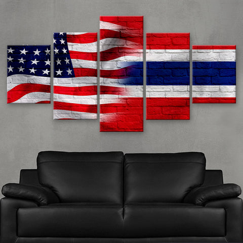 HD PRINTED LIMITED EDITION AMERICAN - THAI (THAILAND) FLAG CANVAS (FLAG120067)
