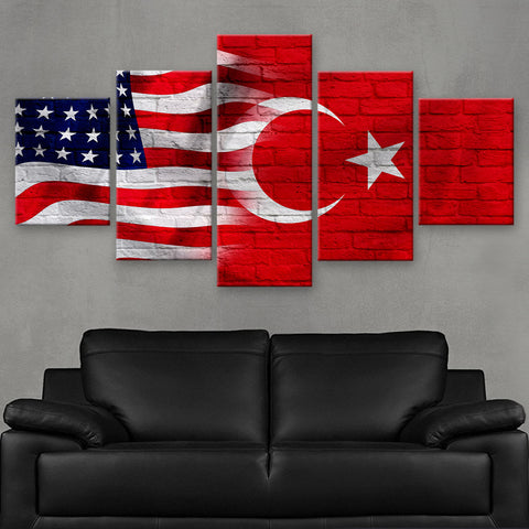 HD PRINTED LIMITED EDITION AMERICAN - TURKISH (TURKEY) FLAG CANVAS (FLAG120068)