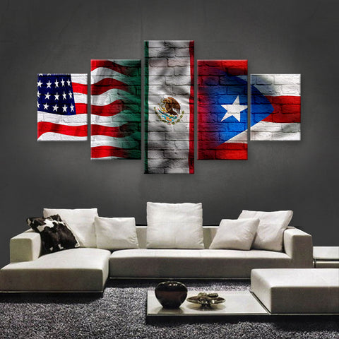 HD PRINTED LIMITED EDITION AMERICAN - MEXICAN - PUERTO RICAN FLAG CANVAS (AMXP150022)
