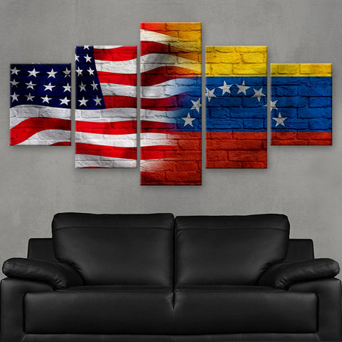 HD PRINTED LIMITED EDITION AMERICAN - VENEZUELAN (VENEZUELA) FLAG CANVAS (FLAG120070)
