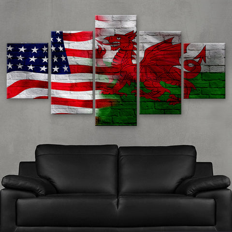 HD PRINTED LIMITED EDITION AMERICAN - WELSH (WALES) FLAG CANVAS (FLAG120076)