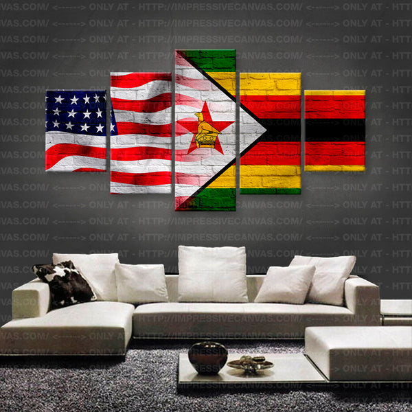 HD PRINTED LIMITED EDITION AMERICAN - ZIMBABWEAN (ZIMBABWE) FLAG CANVAS (FLAG150041)