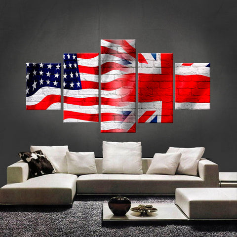 HD PRINTED LIMITED EDITION AMERICAN - BRITISH (UNION FLAG) CANVAS (AMBT15015)