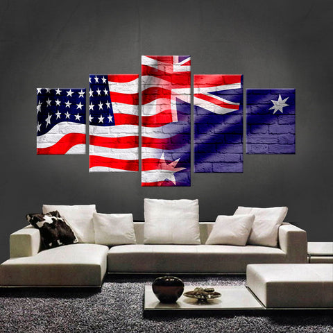 HD PRINTED LIMITED EDITION AMERICAN - AUSTRALIAN (AUSTRALIA) CANVAS (FLAG120001)