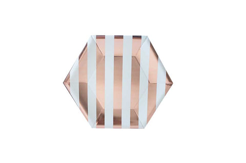 Paper Plates - Hexagonal Rose Gold & White Stripe