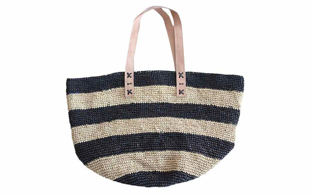 Bag - Raffia Natural & Black Stripe