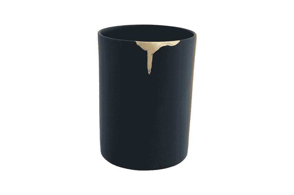 Utensil Holder - Wonky Black With Gold Leaf