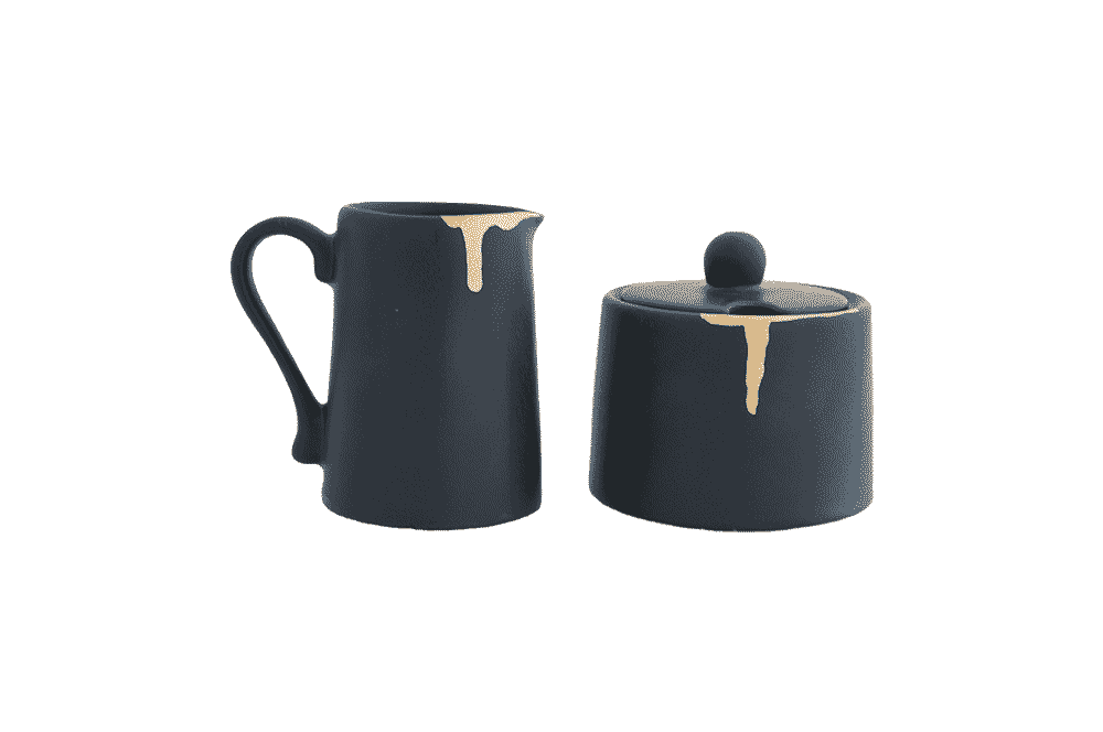 Milk Jug & Sugar Bowl Set - Wonky Black with Gold Leaf