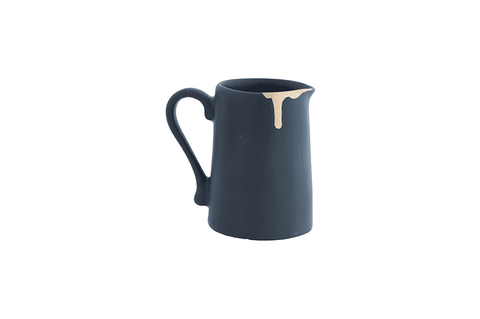 Jug - Wonky Milk - Black with Gold Leaf