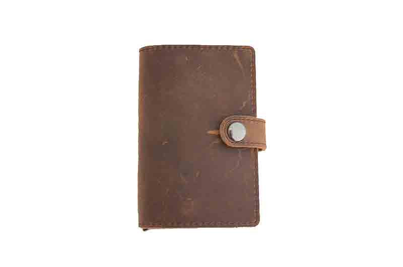 Mini Brown Leather Wallet - With RFID Card Protector