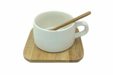 Coffee Cup with Wooden Saucer & Spoon