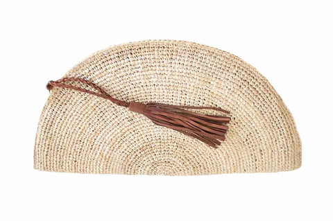 Bag - Raffia Half Moon Clutch