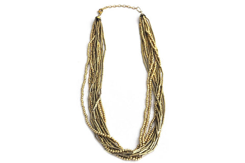Necklace - Matte Gold Brass Multistrand