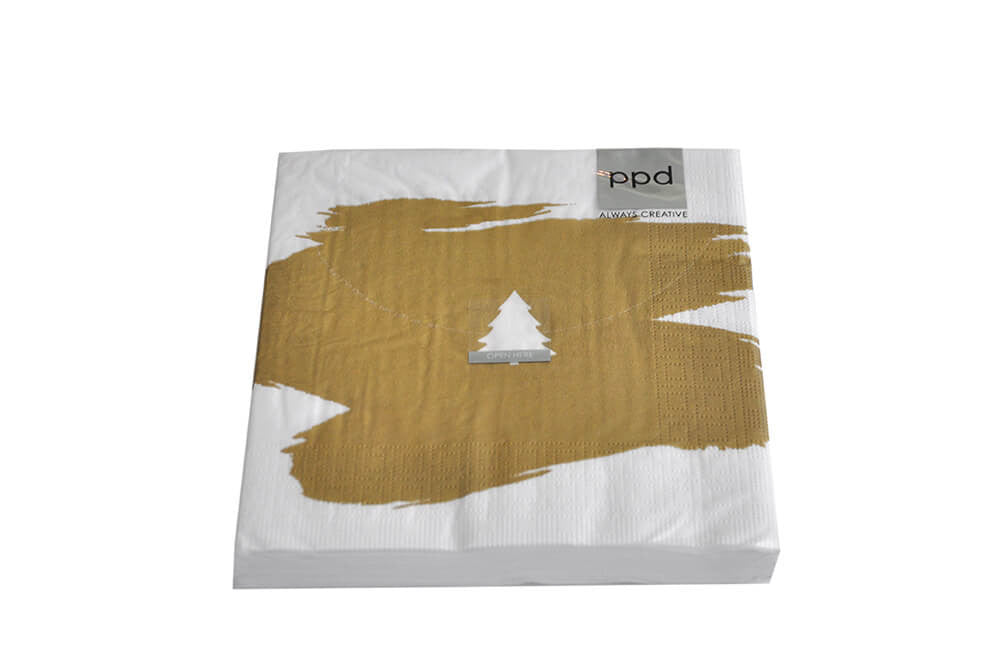Serviettes - Gold Paint Smudge with Christmas Tree
