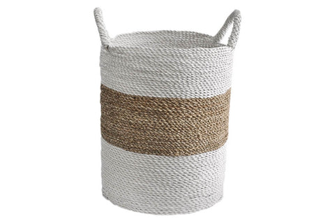 Basket - Seagrass Laundry Natural and White Medium