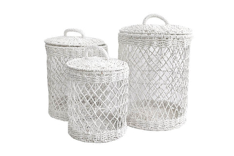 Basket - Crochet Laundry White Large