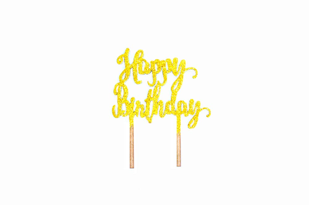Cake Topper - Happy Birthday Gold