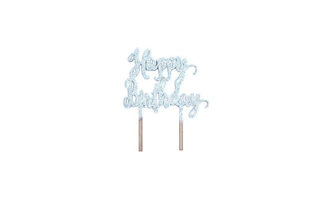 Cake Topper - Happy Birthday Silver