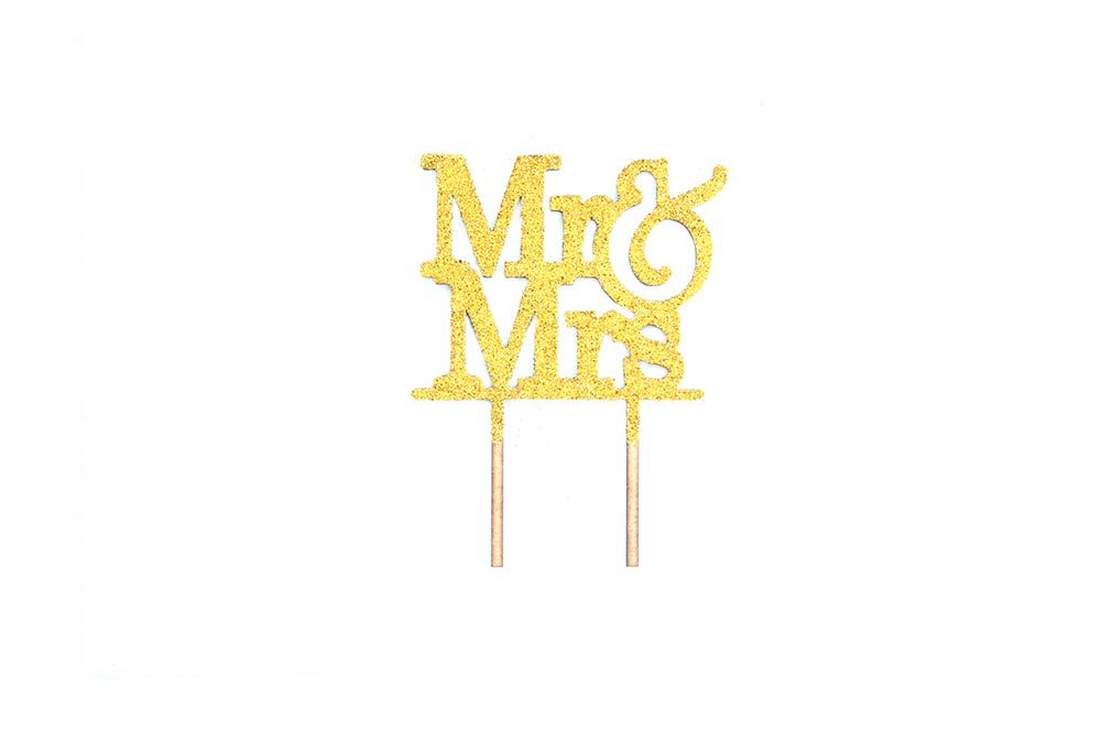 Cake Topper - Mr & Mrs Gold