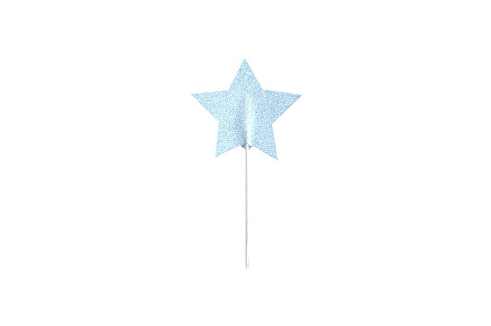 Cupcake Toppers - Silver Glitter Star