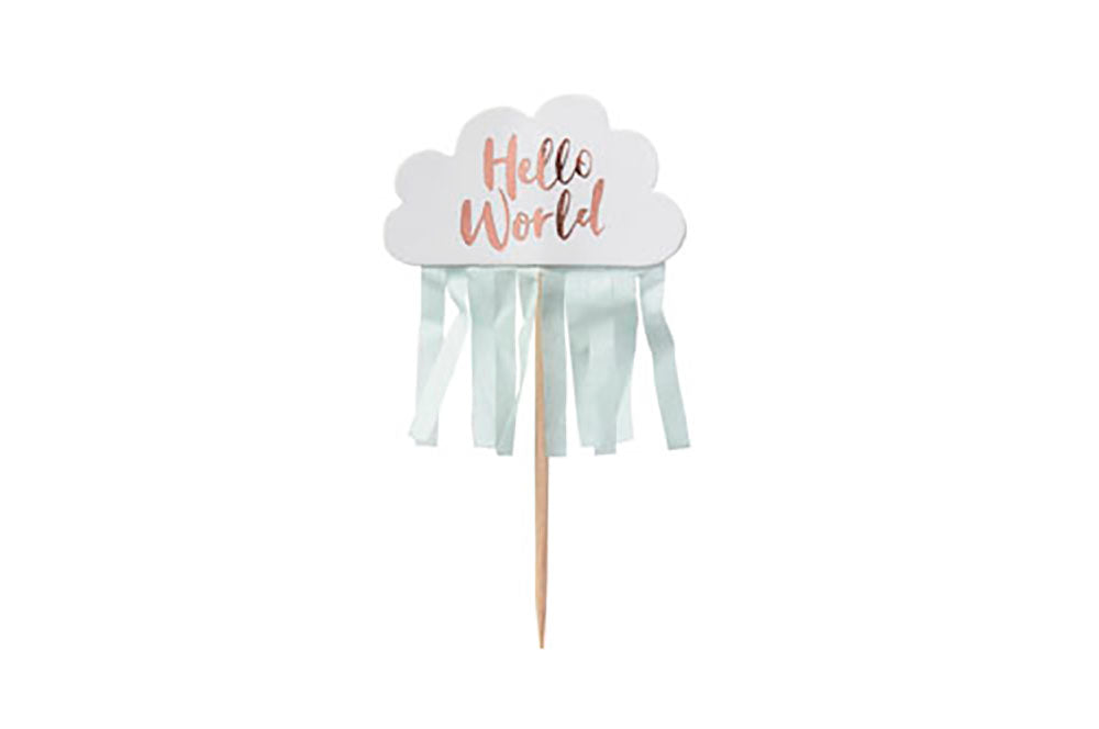 Cupcake Toppers - Hello World Cloud