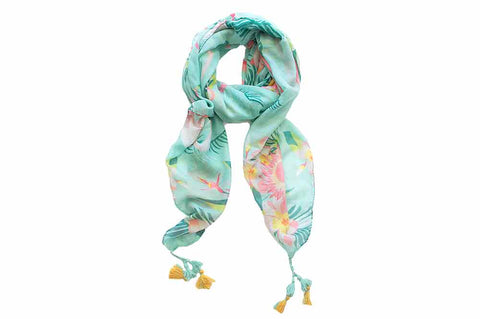 Scarf - Aqua Flirty Flamingo