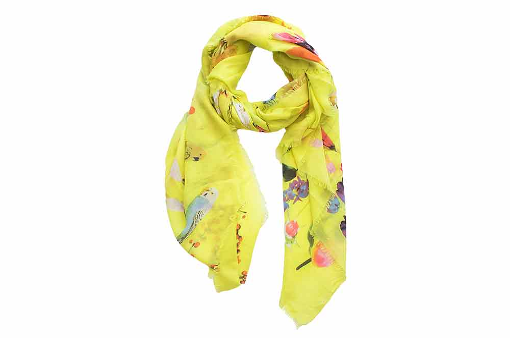 Scarf - Citron Garden Birds Fringed Viscose
