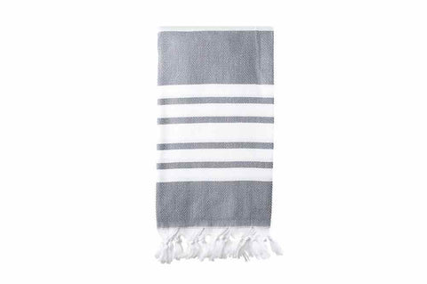 Turkish Towel - Herringbone Dark Grey & White