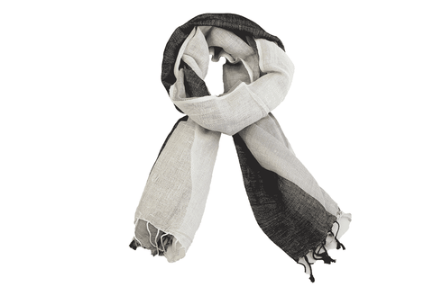 Scarf - Charcoal, Grey and White Thick Stripe