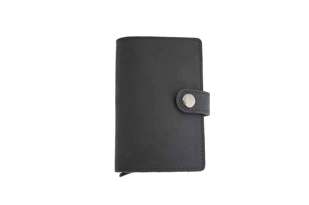 Mini Black Leather Wallet - With RFID Card Protector