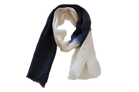 Scarf - Luxury Linen Ombre Navy and White